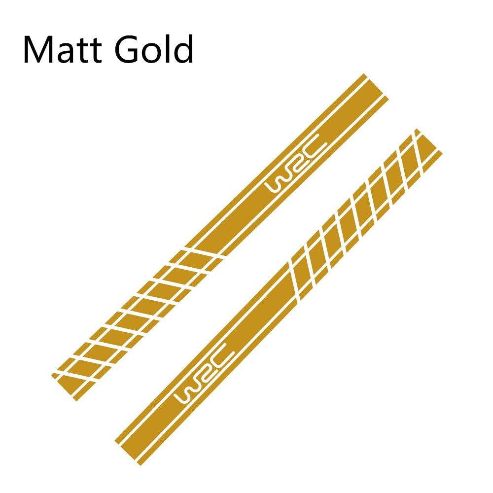 2 шт., 220 см x 16 см, длинные полосатые наклейки для автомобиля, автомобильные боковые юбки, наклейки для самостоятельного изготовления, наклейки для гоночных спортивных стикеров, аксессуары для тюнинга автомобиля - Название цвета: Matt Gold