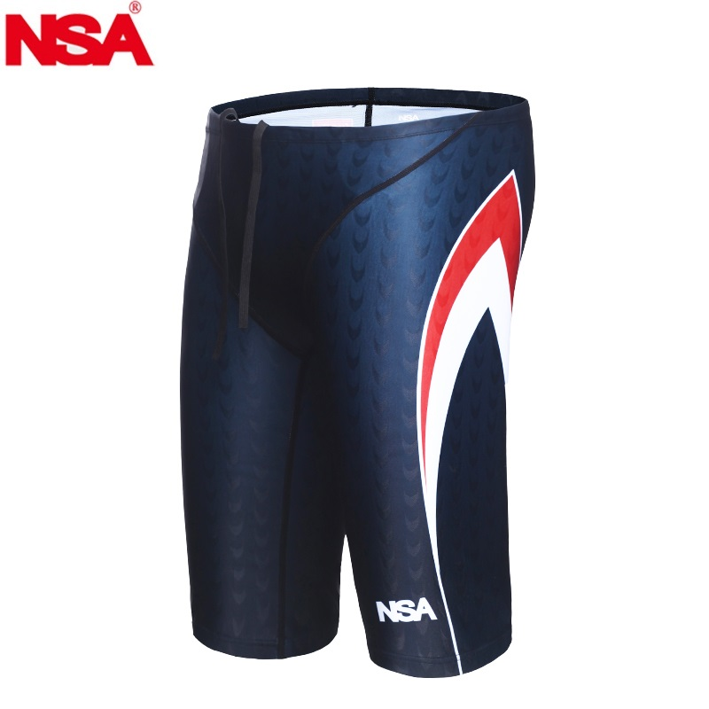 NSA Brand 2019 Swimsuit Boys Swimwear Men Swim Trunks Boxer Mens Swimming Trunks Shorts Sunga Competition Sharkskin Swimsuit