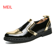 Size 38-48 Brand Men Dress Shoes Moccasin Glitter Men Formal Brogues Shoes Italian Leather Fashion Groom Wedding Oxford Shoes uexia men dress shoes floral pattern formal leather luxury fashion groom wedding shoes men oxford shoes dress plus size 37 50