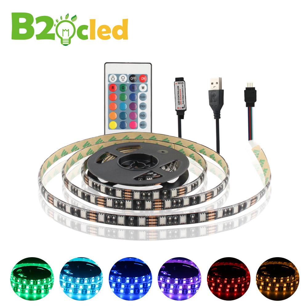 USB Powered 5V RGB LED Strip light 60leds/m 5050 Waterproof Tape warm white For TV Background Lighting With Remote Controller