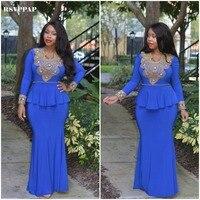 Uzun Abiye 2017 Mermaid Stil Uzun Kollu Afrika Altın Boncuklu Kat Uzunluk Kraliyet Mavi Örgün Abiye giyim