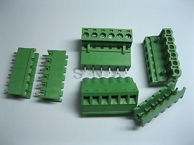 60 pcs Green 6 pin 5.08mm Screw Terminal Block Connector Pluggable Type 50 pcs 3 81mm pitch 3 pin straight screw pluggable terminal block plug connector