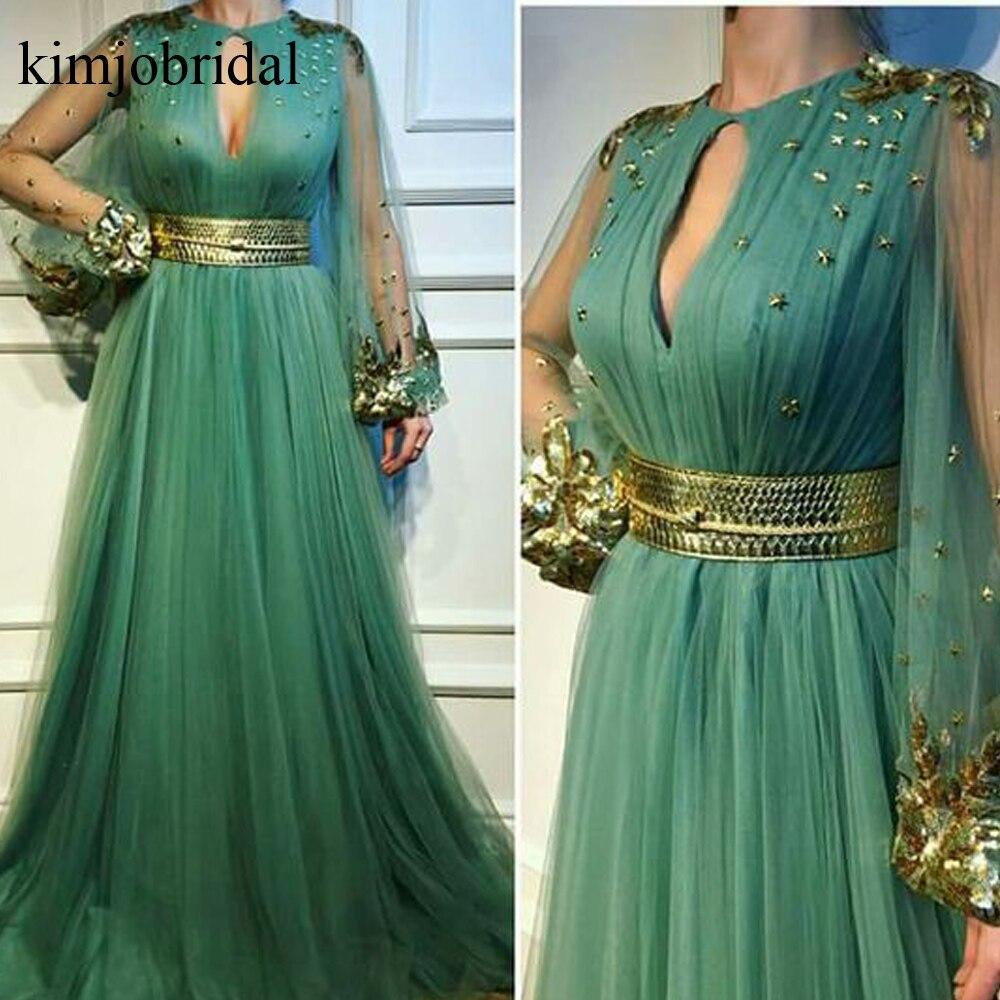 Green Evening Dresses 2019 Crew Neckline Lace Appilques Beading Rhinestone Crystal Evening Gowns Arabic Robe De Soiree