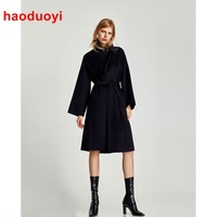 HDY Haoduoyi Europe And American Newest Style Black Long Winter Coat Women Vintage Warm Wool Coat