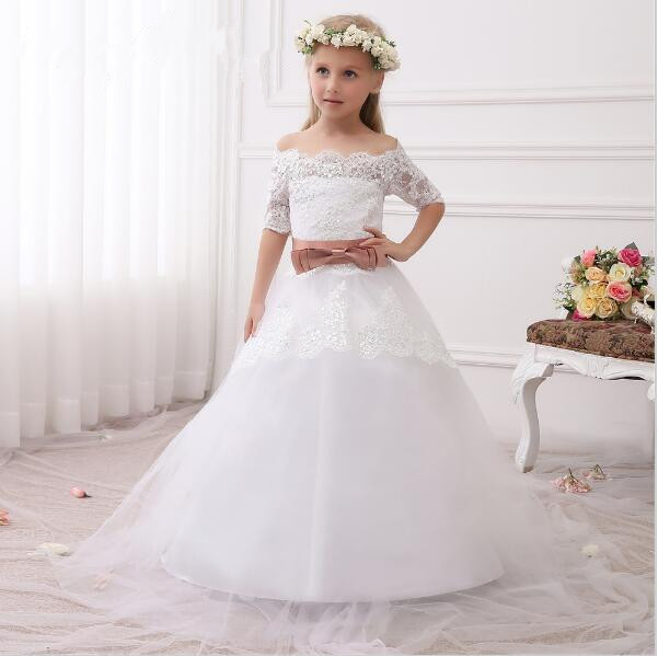 2017 New Girls First Communion Dress Princess Dress Ball Gown Hot White Ivory Lace Flower Girls Dresses Sweep Train 4pcs new for ball uff bes m18mg noc80b s04g
