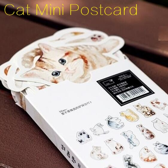 30pcs/set Vintage Cat Mini Bussiness Card Set Greeting Cards  Message Card Students' Gift Office School Stationery Supplies