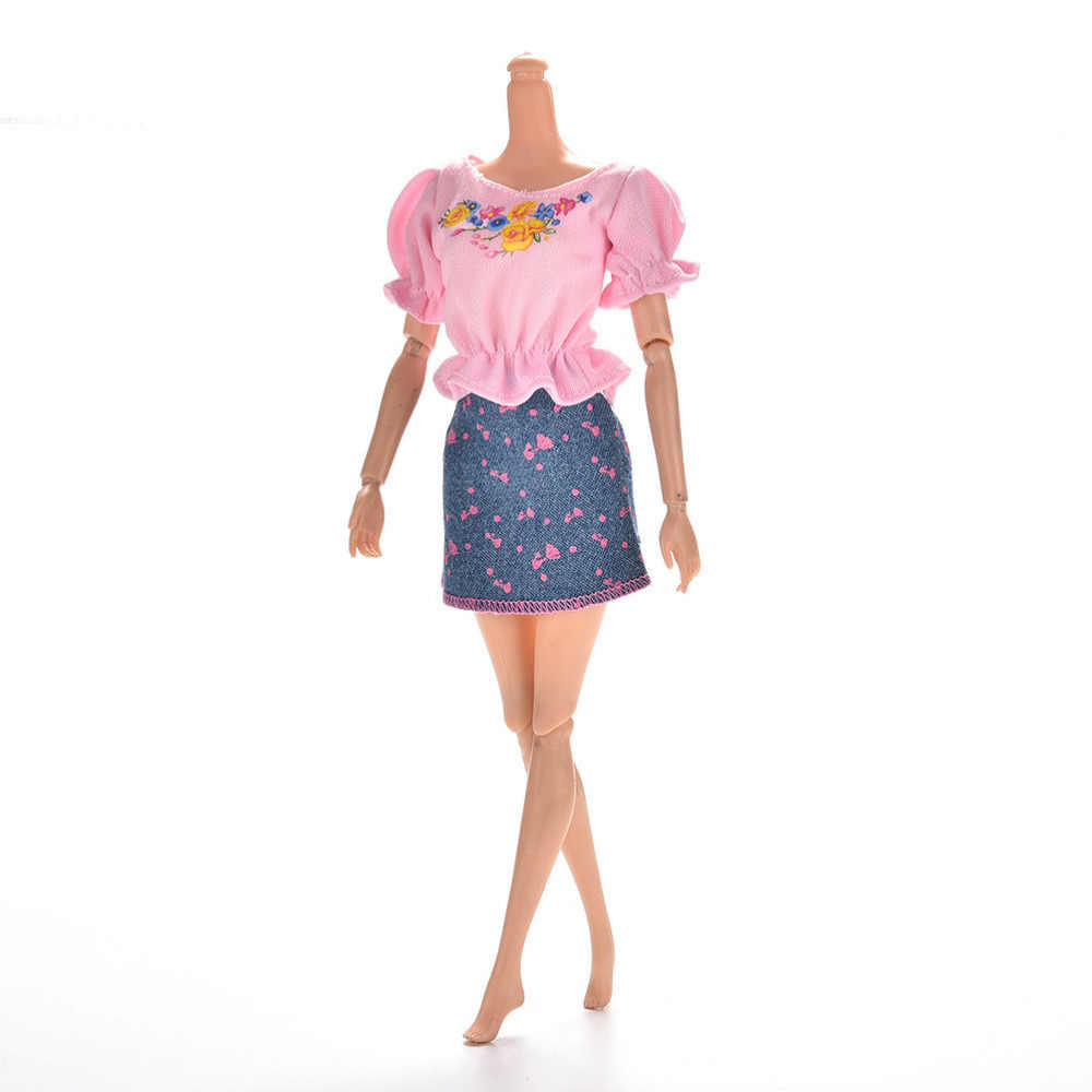 1set Cute Fashion Doll Clothes Sets Summer Short Sleeve Flower Print Doll Dress Mini Princess Denim Skirt