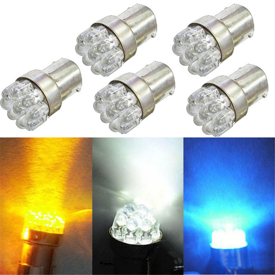 Newest 5 x Car G18 9SMD White Yellow Blue Led Turn Brake Taillights Lights Lamp Bulb