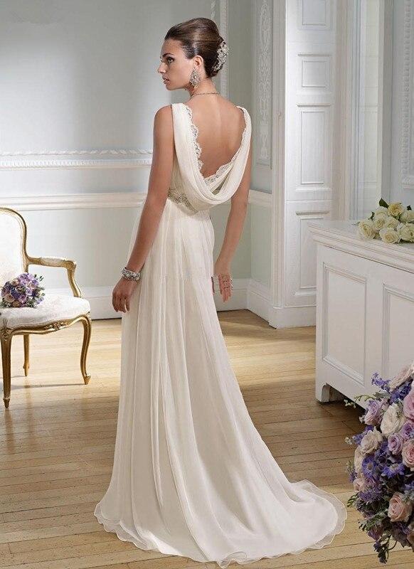 2017 Sexy V Neck Chiffon Summer Sheath Greek Wedding Dresses Granceful Nymph Crystals Beaded Waist Bridal Gowns HU1147 In From Weddings