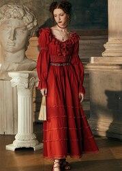 Сексуальное длинное платье, хлопковая ночная рубашка, ночная рубашка для свадьбы с длинным рукавом, ночная рубашка для девушек, королевское...