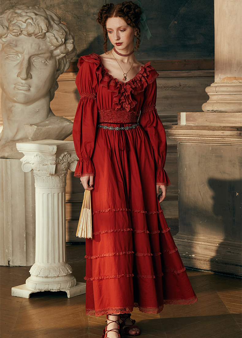 Sexy Long Dress Gowns Cotton Nightgown Wedding Nightdress Long-sleeved Sleepwear Ladies Queen Palace Dress Nightgowns