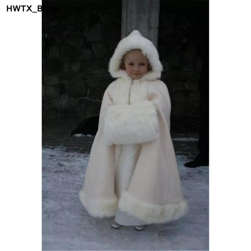Hooded Girls Cape Ivory White Wedding Cloaks Kid Flower Girl Cape Bolero Jackets