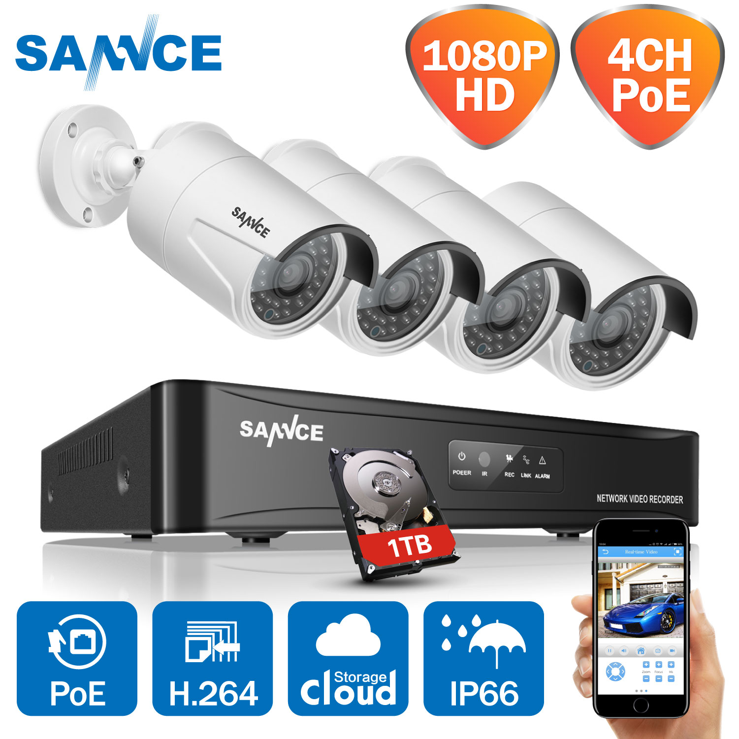 SANNCE 4CH HD 1080 P HDMI P2P POE NVR 1 TB HDD di Sorveglianza sistema di Uscita Video 4 PZ 2.0MP IP Camera Home Security Kit CCTV