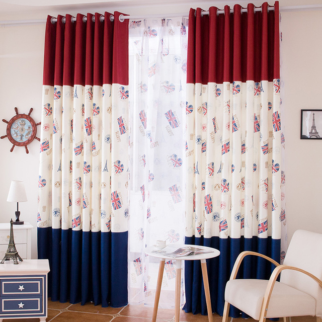 British Flag Fashion English Wind Style Sea Boy Fun Room Living Bedroom Curtains