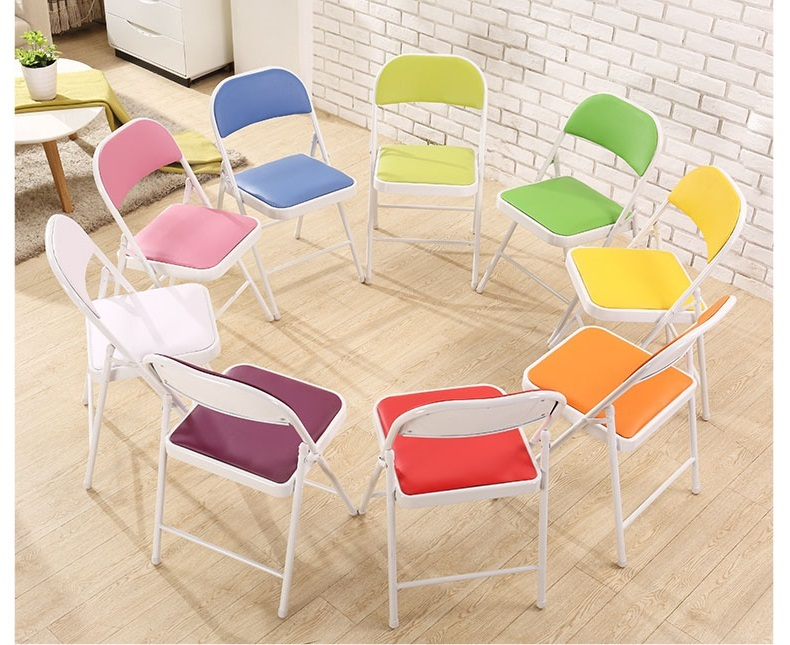 Hotel Restaurant Chairs Folding Stool Green Purple Pink