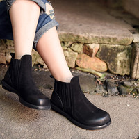 New Artmu High Quality Brief Cowhide Low Heeled Boots Female Round Toe Comfortable All Match Boots