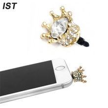 IST Universal 3.5mm Crown Diamond Anti-Dust Plug Phone Anti Dust Plug For iPhone Samsung LG Phone Audio Earphone Headphone Plug