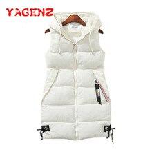 YAGENZ, плюс размер, женский жилет, зимняя куртка, с карманами, с капюшоном, пальто, теплый, Повседневный, с хлопковой подкладкой, жилет для женщин, тонкий, без рукавов, жилет 174