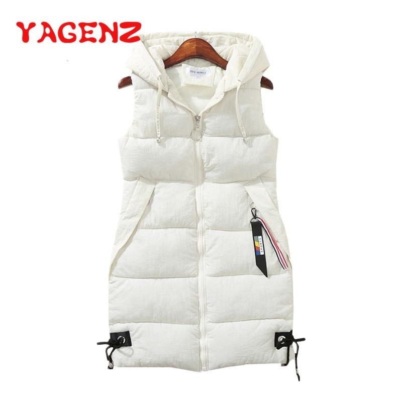 YAGENZ Plus Size Women Vest Winter Jacket Pocket Hooded Coat Warm Casual Cotton Padded Vest Female Slim Sleeveless Waistcoat 174