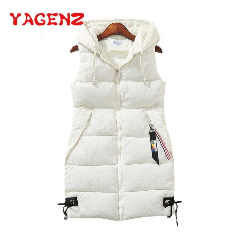 YAGENZ grande taille femmes gilet veste d'hiver poche à capuche manteau décontracté coton rembourré gilet femme Slim sans manches gilet 174
