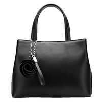 Black Rose Flower Accessories Ladies Genuine Leather Michaeled Handbags Women Famous Brands Real Leather Tote Bag