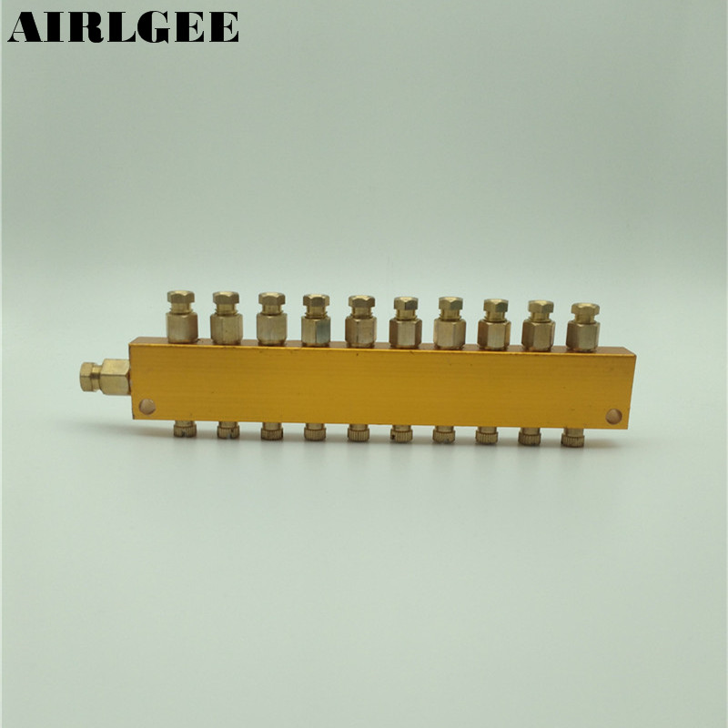 Air Pneumatic Brass Adjustable Oil Discharge 10 Ways Oil Distributor Regulating Manifold Free shipping gold tone air pneumatic adjustable 9 way oil distributor valve manifold block