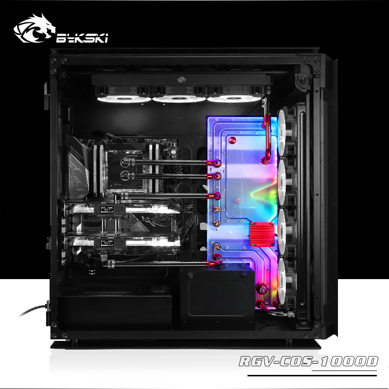 BYKSKI Acrylic Board Water Channel Solution use for CORSAIR 1000D Computer Case for CPU and GPU