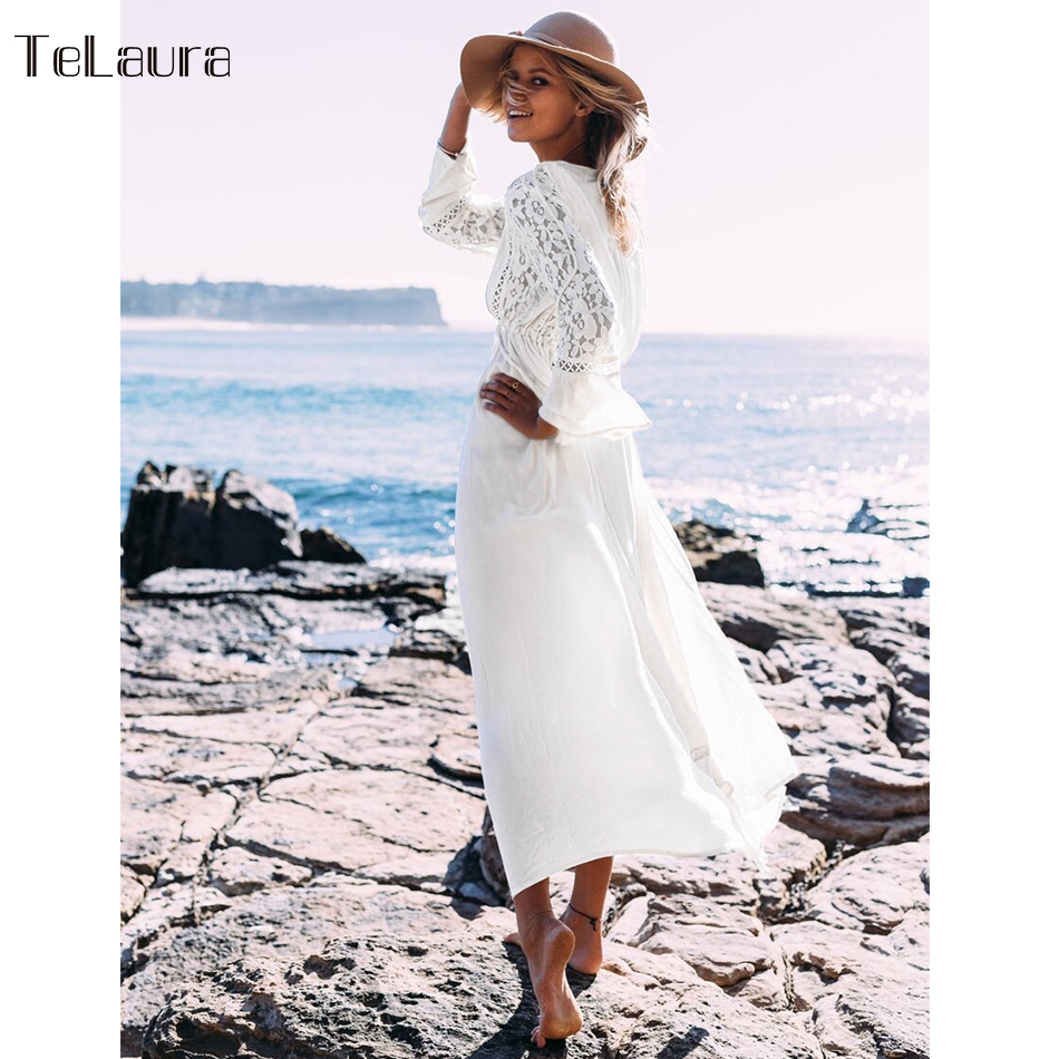 Image 3 - 2019 Sexy Beach Cover Up Swimsuit White V Neck Hollow Out Beach Long Dress Women Bikini Swimwear Bathing Suit Summer Beach Tunic-in Cover-Ups from Sports & Entertainment