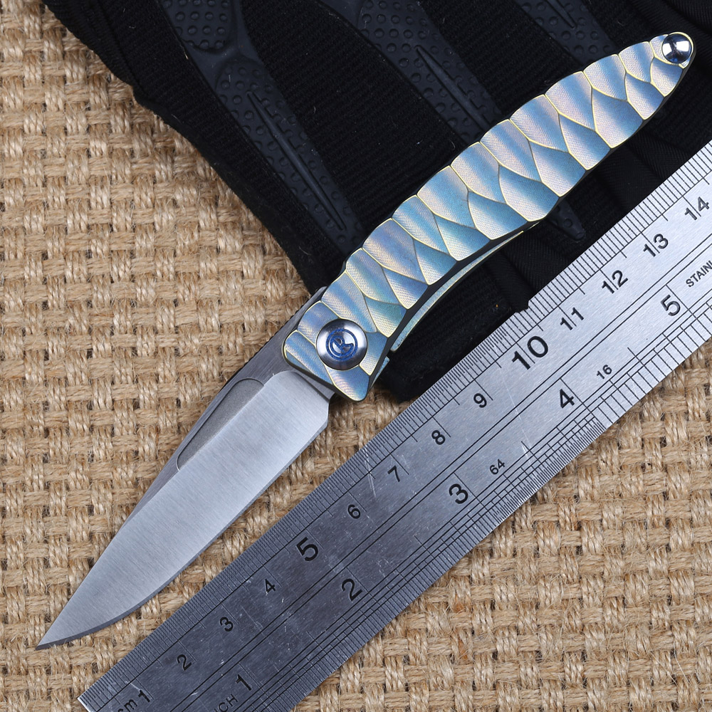 IKIV Classical M390 Blade Portable Knife Outdoor Camping Tactical Titanium Knives Pocket Hiking Tool Men Gift Light Weight Knife ycys new outdoor camping hiking portable brass pocket golden compass navigation outdoor tools gift
