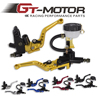GT Motor Free Shipping Universal Adjustable Motorcycle Brake Clutch Levers Master Cylinder Hydraulic Reservoir Set For