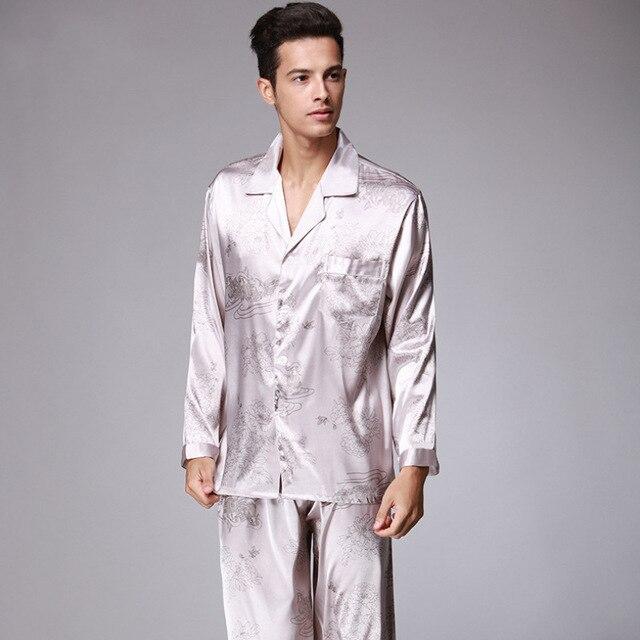 Весна Мандарин пара спальный с длинными рукавами шелковые пижамы для Для мужчин атласная пижама мужской пижамы Ночная рубашка домашняя одежда