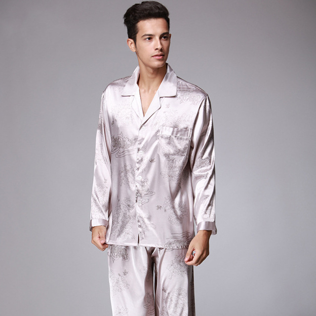 Spring Mandarin Couple Sleeping Long-sleeved Silk Pajamas For Men Satin  Pyjama Male Sleepwear Nightgown Home Clothing beb57d8b6