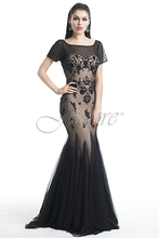 2015 New Arrival Charming Black Lace Applique Nude Tulle Short Sleeves Mermaid Formal Long Prom Dresses For Wedding party