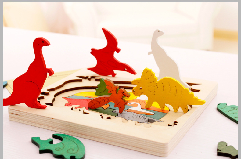 Wooden Multi-dimensional Storyteller Puzzle Jigsaw Cube 3 Layers Story Cartoon Dinosaur Animal Early Educational Montessori Toys