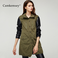 CamKemsey Winter Coats Women 2018 Autumn PU Leather Patchwork Hooded Long Jackets Women Military Army Green Overalls Coats