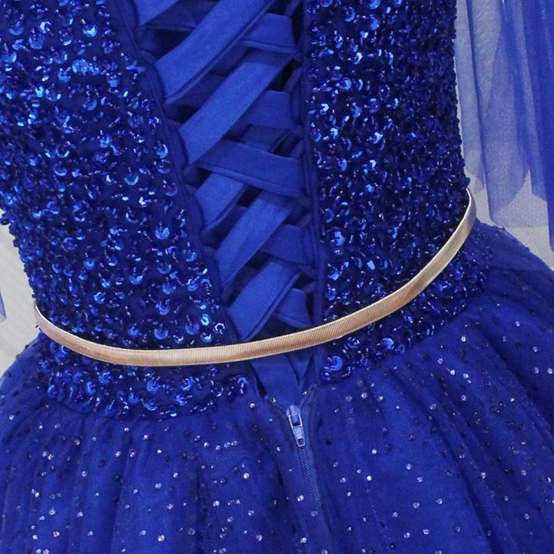 Longues robes de bal v-cou demi manches a-ligne à lacets grande taille Sexy robe de bal pour les femmes crêpe robes de bal 2018 avec perlé - 3