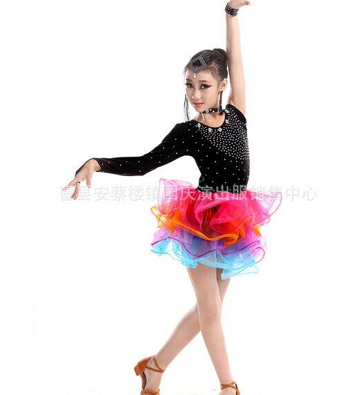 Free shipping  fashion gift rumba latin dance dress tango samba 100-160cm colorful professional girl child dress black costume