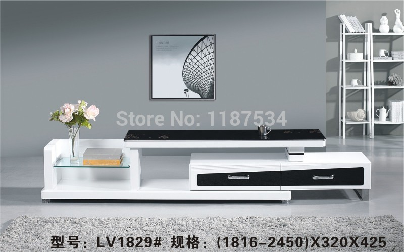LV1829# Living Room Wooden Glass Stretch TV Stand Modern