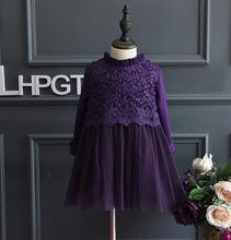 2017 New Children's baby lace Add wool dresses  winter temperament lace thick girls long sleeve dress wholesale