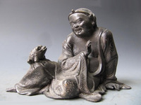Chinese Folk Myth Pure Bronze Mythical Liu Hai Money Play Toad Statue Free Shipping