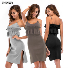 PGSD Spring Summer Simple Fashion Pure Colored Women Clothes Folded fungus edge swing open fork Knitted Sling Short Dress female