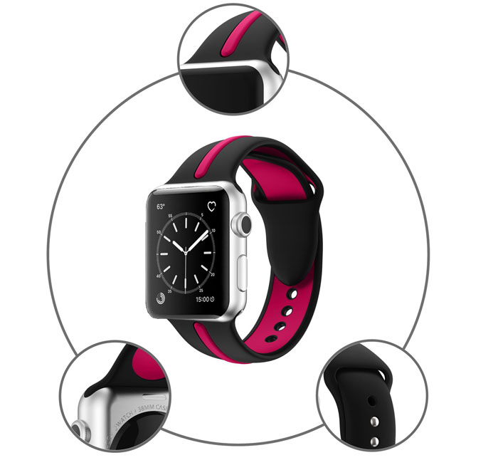 Bracelet sport Apple Watch Silicone Bi-couleur chez Bibitech.net
