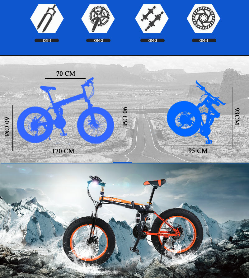 "HTB1QQchblv0gK0jSZKbq6zK2FXaZ wolf's fang Mountain Bike 20""x 4.0 Folding Bicycle 21 speed road bike fat bike variable speed bike Mechanical Disc Brake"