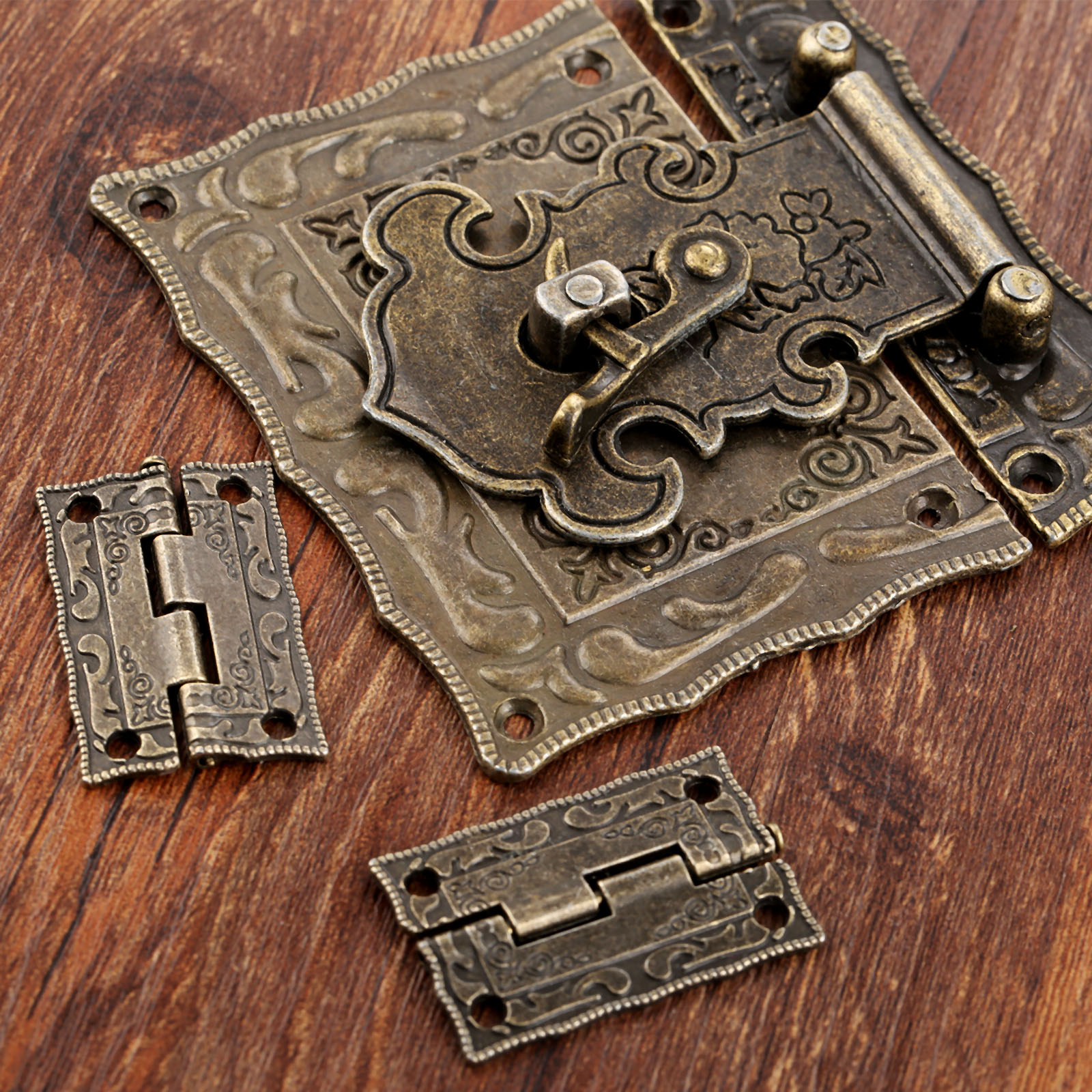 2Pcs Antique Bronze Cabinet Hinges Vintage Furniture Hardware Set + Box Hasp Latch Toggle Buckle For Jewelry Wooden Case