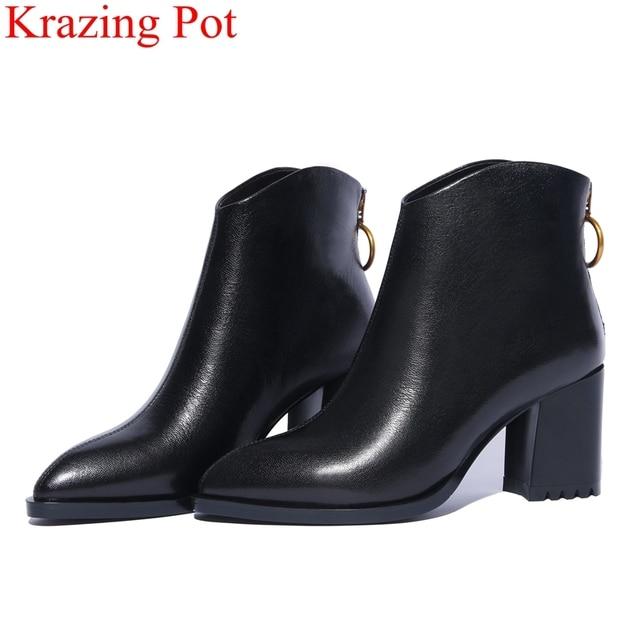2018 siêu sao da chính hãng kích thước lớn quảng trường gót chân mắt cá chân khởi động rắn dây kéo thanh lịch ngắn gọn phụ nữ giữ giày mùa đông ấm áp L2f9