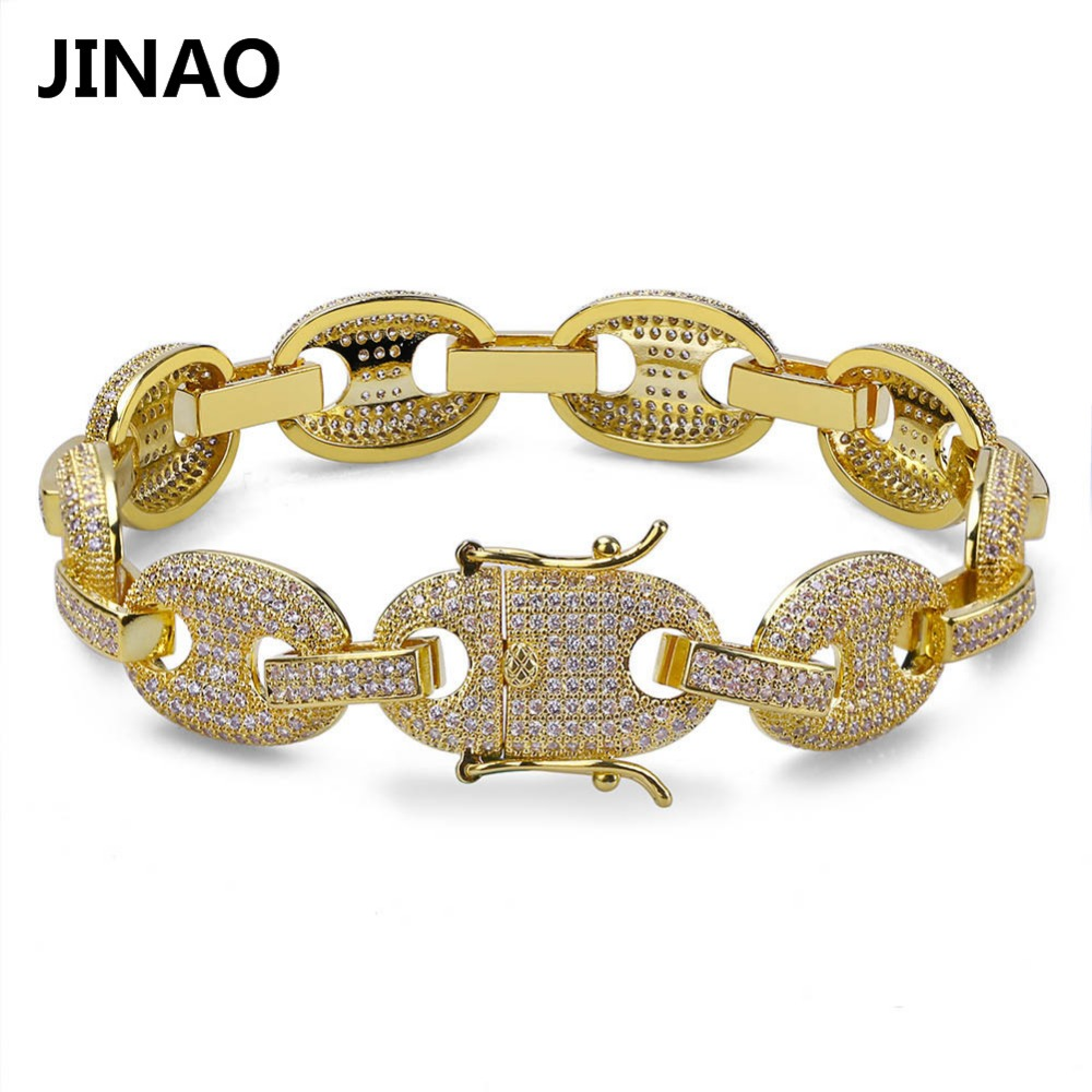 JINAO Hip Hop Rock Men Bracelets Gold/Silver Color Plated Iced Out AAA Cubic Zircon Bling Chain Bracelets 7Inch 8Inch topgrillz spikes rivet stud mens rivet charm bracelets 2018 iced out gold silver color bracelets for men hip hop punk jewelry