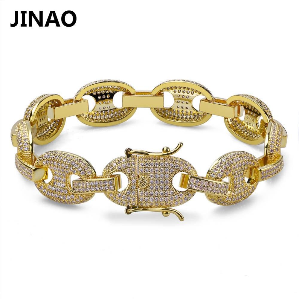 320a0a483039 JINAO Hip Hop Rock hombres pulseras oro/plata Chapado en Color helado AAA  circón cúbico Bling cadena pulseras 7 pulgadas 8 pulgadas