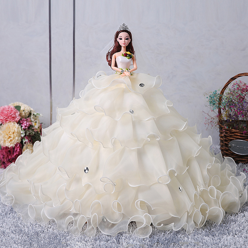 Wedding dress 3D eye girl toy Pink Trailing wedding dress Barbie doll kid gift