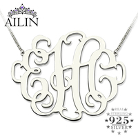 Wholesale XXL Monogram Necklace 2 Inch Personalized Initials Necklace Sterling Silver Monogram Jewelry Best Gift For