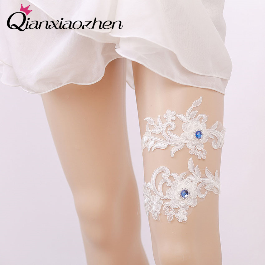 Lace Wedding Garters: Qianxiaozhen 2pcs/set Flower Lace Leg Wedding Garter